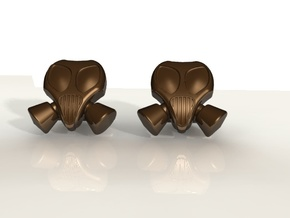 Gasmask Cufflinks in Stainless Steel