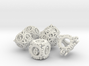 Steampunk Gear Dice Set noD00 in White Strong & Flexible