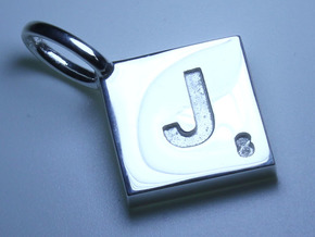 SCRABBLE TILE PENDANT   J  in Polished Silver