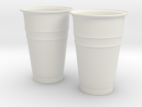 Plastic Cups in White Strong & Flexible
