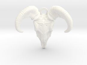 Ram Skull in White Strong & Flexible Polished