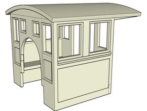 HOn30 Cab for 2-8-0 steam loco, mk.2 in White Strong & Flexible Polished