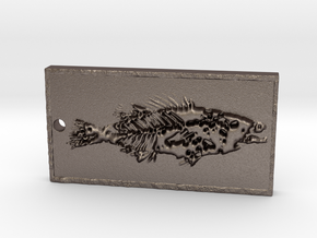 Fish fossil pendant rectangular in Stainless Steel