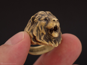 Lion Ring in Raw Brass