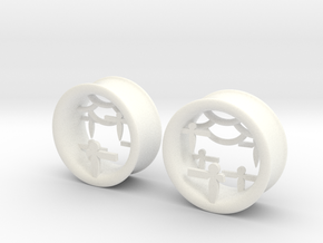 Shikigami Tunnels 1 inch gauge in White Strong & Flexible Polished