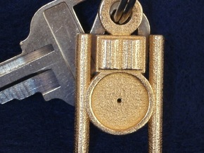 Point Within a Circle Key Chain Fob in Polished Gold Steel
