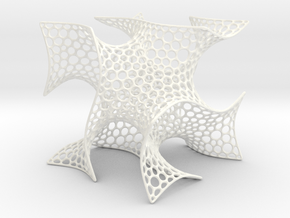 Cubic Gyroid (Voronoi) in White Strong & Flexible Polished