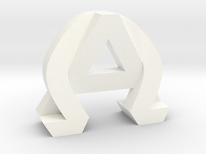 AlphaOmega (Large) in White Strong & Flexible Polished