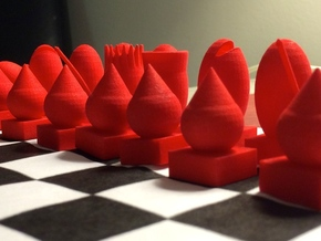Full Chess Set in Red Strong & Flexible Polished