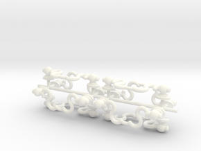 1/6 Scale Drawer Handles in White Strong & Flexible Polished