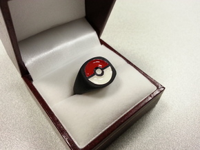 Pokeball Ring-Wide Band (Edit size in description) in Black Acrylic