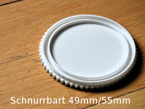 Schnurrbart Mustache Lens Cap 49mm/55mm in White Strong & Flexible