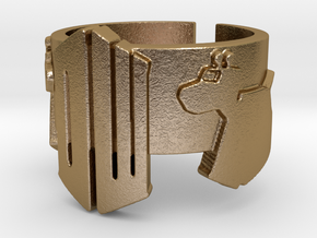 Doctor Who and K9 Ring - Size 7 in Polished Gold Steel
