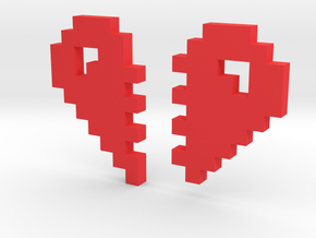 2 Halfs of an 8 Bit Heart (Pixel Heart) in Red Strong & Flexible Polished