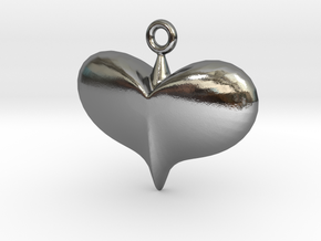 Lady Heart Pendant Full Color by Space 3D in Polished Silver