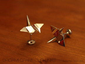 Origami Crane Cufflinks in Polished Silver
