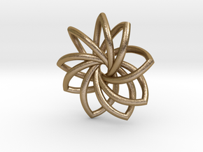 Stylized Snowflake in Polished Gold Steel