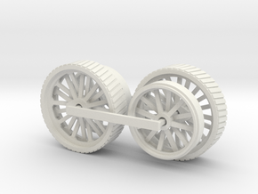 1005-1 Fowler Plough Engine Wheels 1:43.5 O Scale in White Strong & Flexible