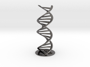 DNA double helix schematic with stand (metal) in Polished Nickel Steel