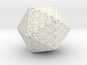 Icosahedron Christmas Tree Ornament in White Strong & Flexible