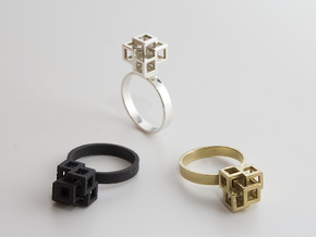 Quadro Ring - US 8 in Raw Brass
