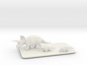 Triceratops family small in White Strong & Flexible