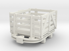 1:35 or Gn15 small skip based slat dropside wagon in White Strong & Flexible