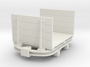 1:35 or Gn15 small skip based flat wagon high ends in White Strong & Flexible