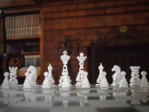 Typographical Chess Set in White Strong & Flexible
