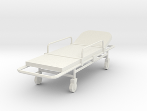 Miniature 1:24 Bed Gurney in White Strong & Flexible