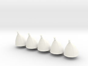 5 x Grenadier Hats in White Strong & Flexible Polished
