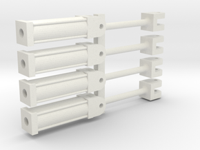 Four 1:64 HYDRAULIC CYLINDERS  in White Strong & Flexible