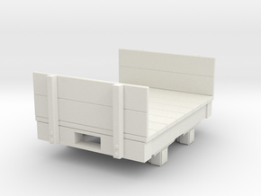 Gn15 small 4ft Flat wagon with ends  in White Strong & Flexible