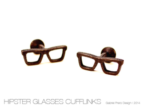 Hipster Glasses Cufflinks in Matte Black Steel