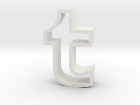 large Tumblr logo cookie cutter in White Strong & Flexible