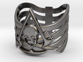AC pirate ring-med.sizes(15mm/22mm) in Polished Nickel Steel