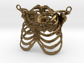 Ribcage With Stylized Heart Pendant in Raw Bronze
