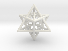 Merkaba Seed Of Life Pendant in White Strong & Flexible
