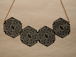 Hexagonal Triangle Necklace in Black Strong & Flexible