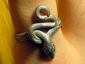 Covetous Silver Serpent Ring, Size 8.5 in Polished Nickel Steel