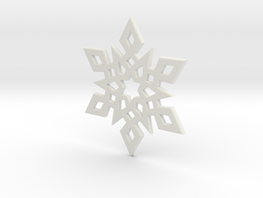 Snowflake Pendant 2 in White Strong & Flexible