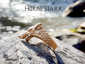 Size 7 Direwolf Sigil Ring in Raw Bronze