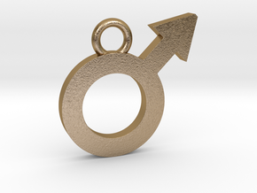 Male Pendant in Polished Gold Steel