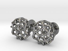 Organic Round Cufflinks in Polished Silver