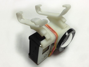 GoPro-Hero3 mount for arDrone2 in White Strong & Flexible