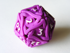 'Twined' Dice D20 MTG Spindown Life Counter Die 32 in Purple Strong & Flexible Polished
