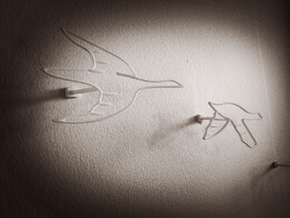 Flock of Birds: Wire Wall Art in White Strong & Flexible