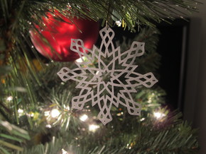 Islamic Snowflake Ornament in White Strong & Flexible