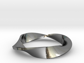 Moebius Strip Variant (1.5 turns) in Premium Silver