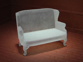 1:48 Queen Anne Wingback Settee in Frosted Ultra Detail
